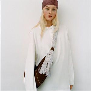 Zara Brown Leather crochet detail Crossbody Bag